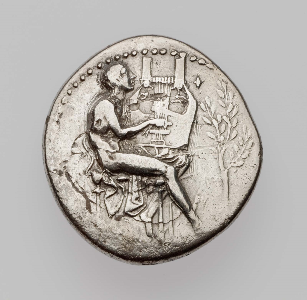 Stater of Metapontion with seated Apollo about 430 B.C.