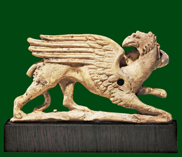 A Greek terracotta applique with griffin Tarentum 350-325 BC