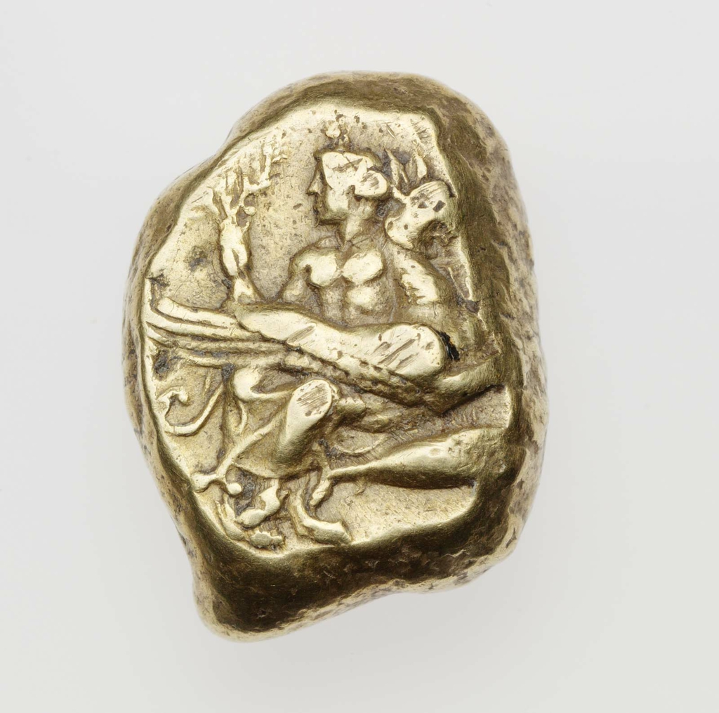 Stater of Kyzikos with Apollo seated on lion-griffin above tunny fish 400–330 B.C.