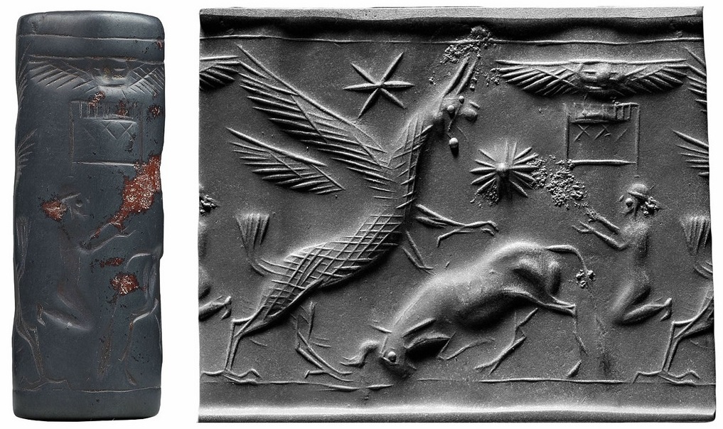 Griffin attacking a bull (Cylinder seal and impression) Mesopotamia 13th century BC
