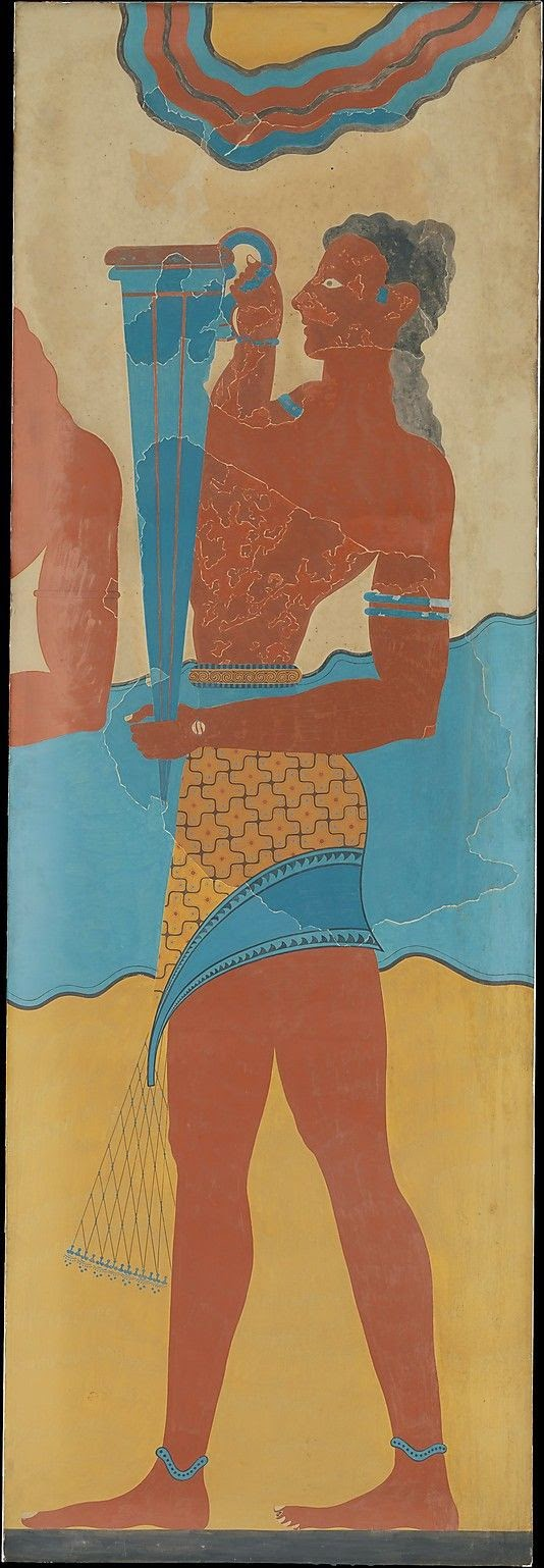 fresco at Knossos of servant with blue vessel