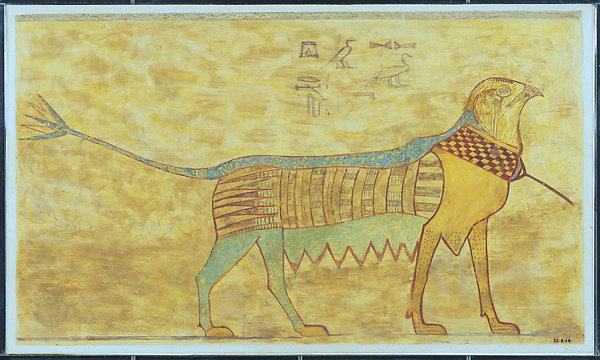 Modern drawing of  Egyptian Griffin Beni Hasan necropolis, Egypt 1938 1630 BC