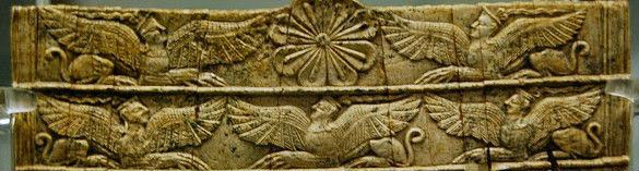 detail of sphinxes from an ivory comb from Mycenae made around 1400 bce