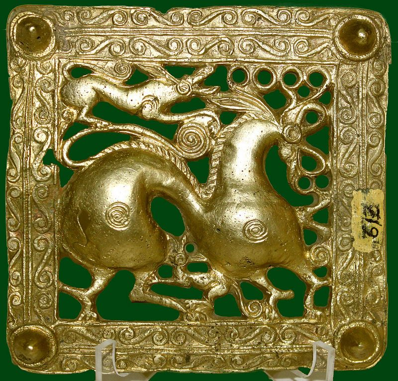 Scythian golden artwork Griffin attacking a deer