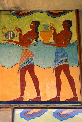Minoan painting of servants at Knossos