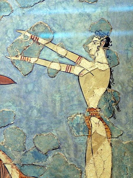detail from the Stiersprung fresco of a bull leaper, 1600-1450 bce